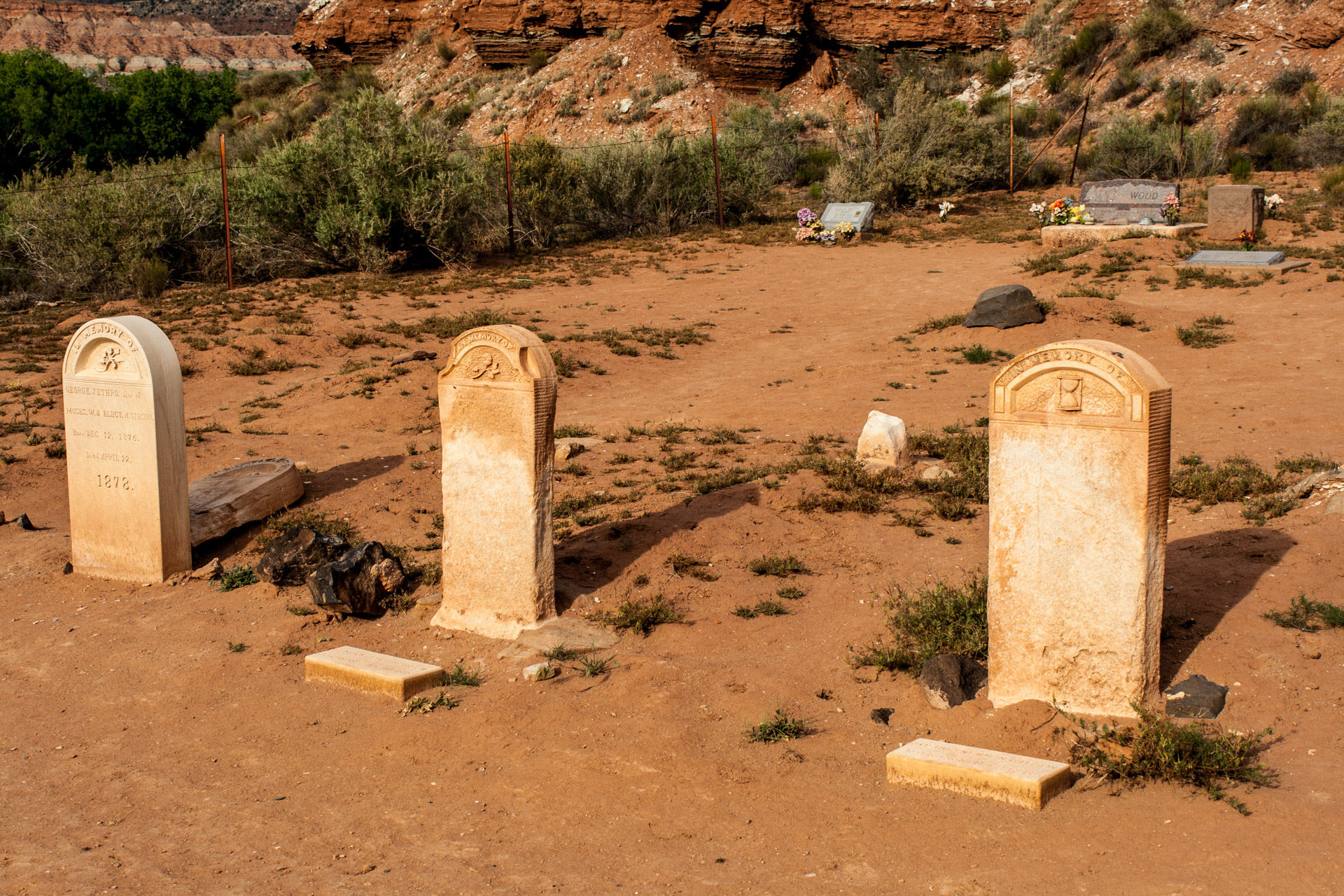 A Desert Ghost Town Cemetery (three stones)