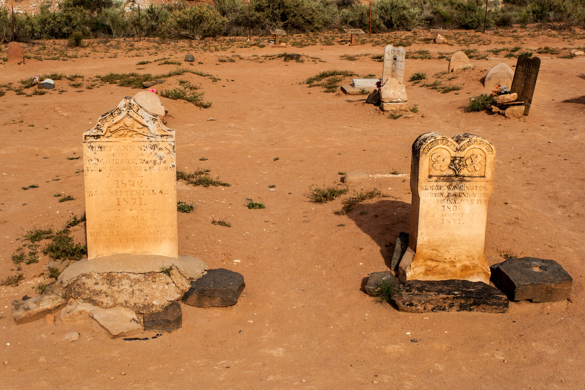 A Desert Ghost Town Cemetery (two stones)