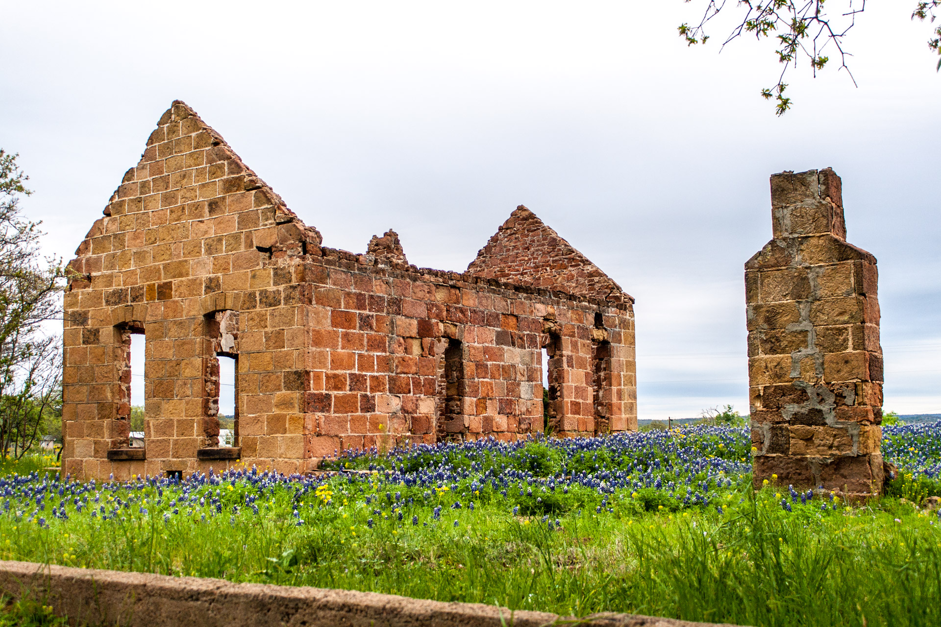 Pontotoc, Texas - A Stone Ruin With Bluebonnets