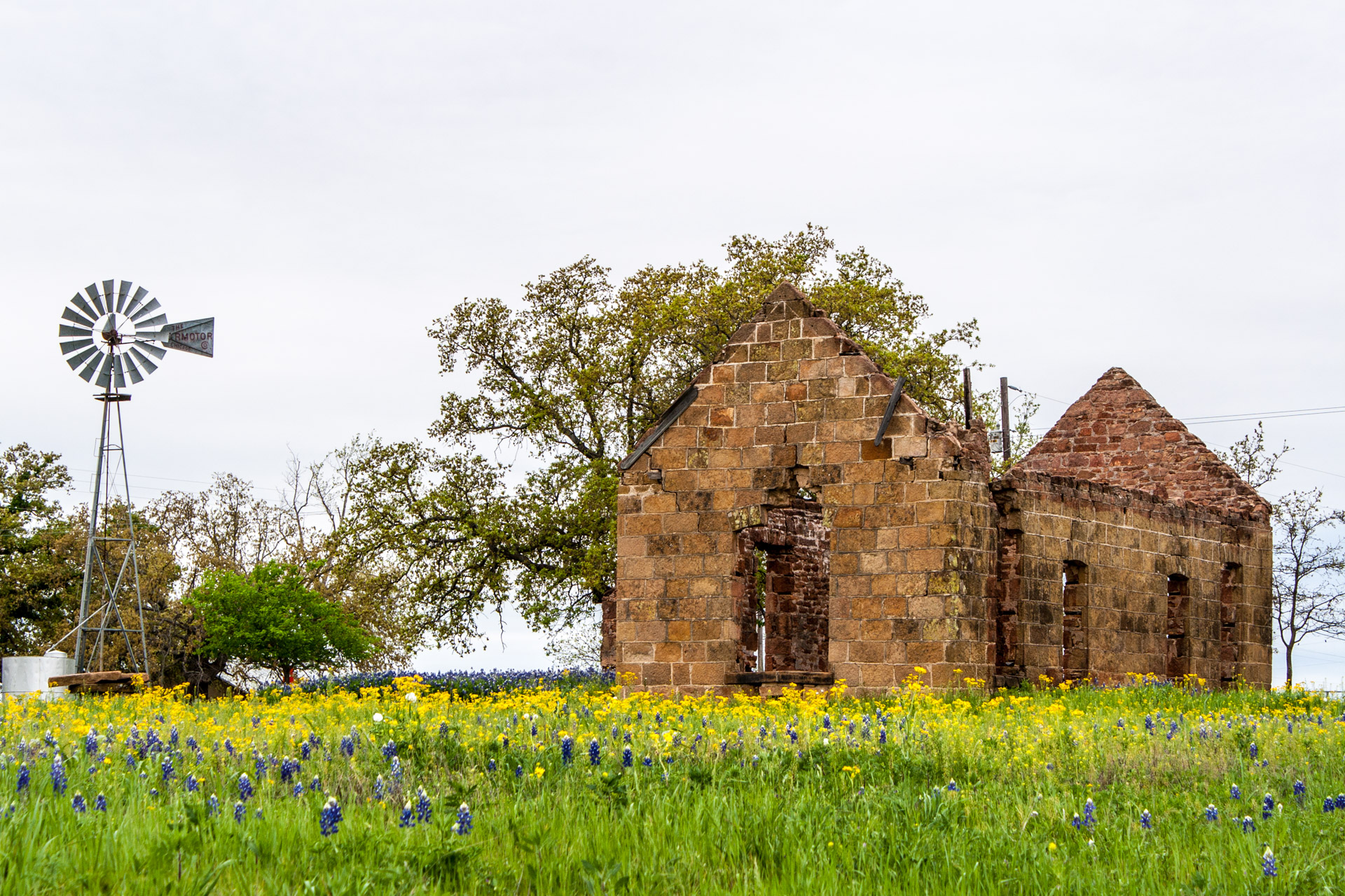 Pontotoc, Texas - A Stone Ruin With Bluebonnets (back far)