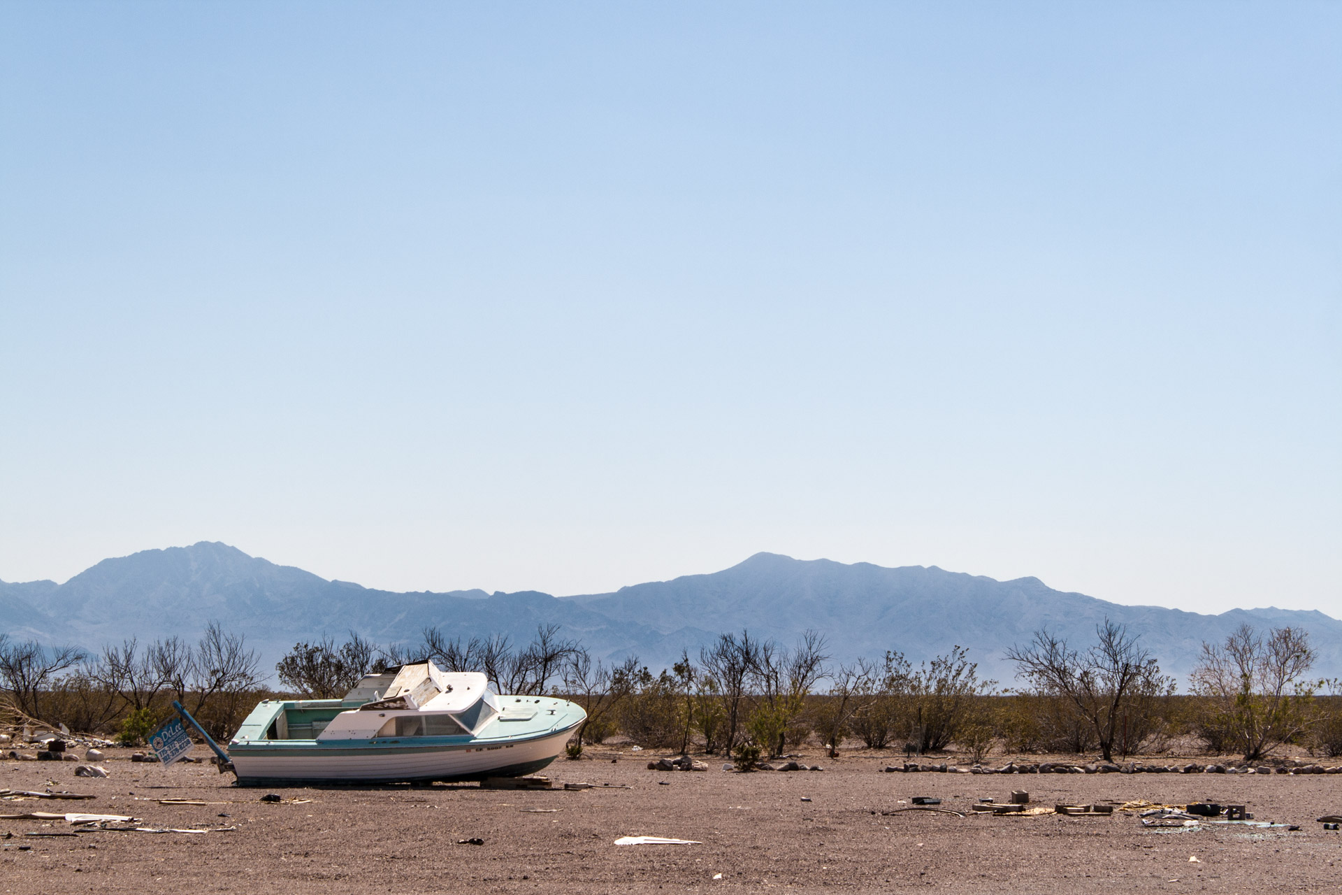 A Stranded Boat In The Nevada Desert
