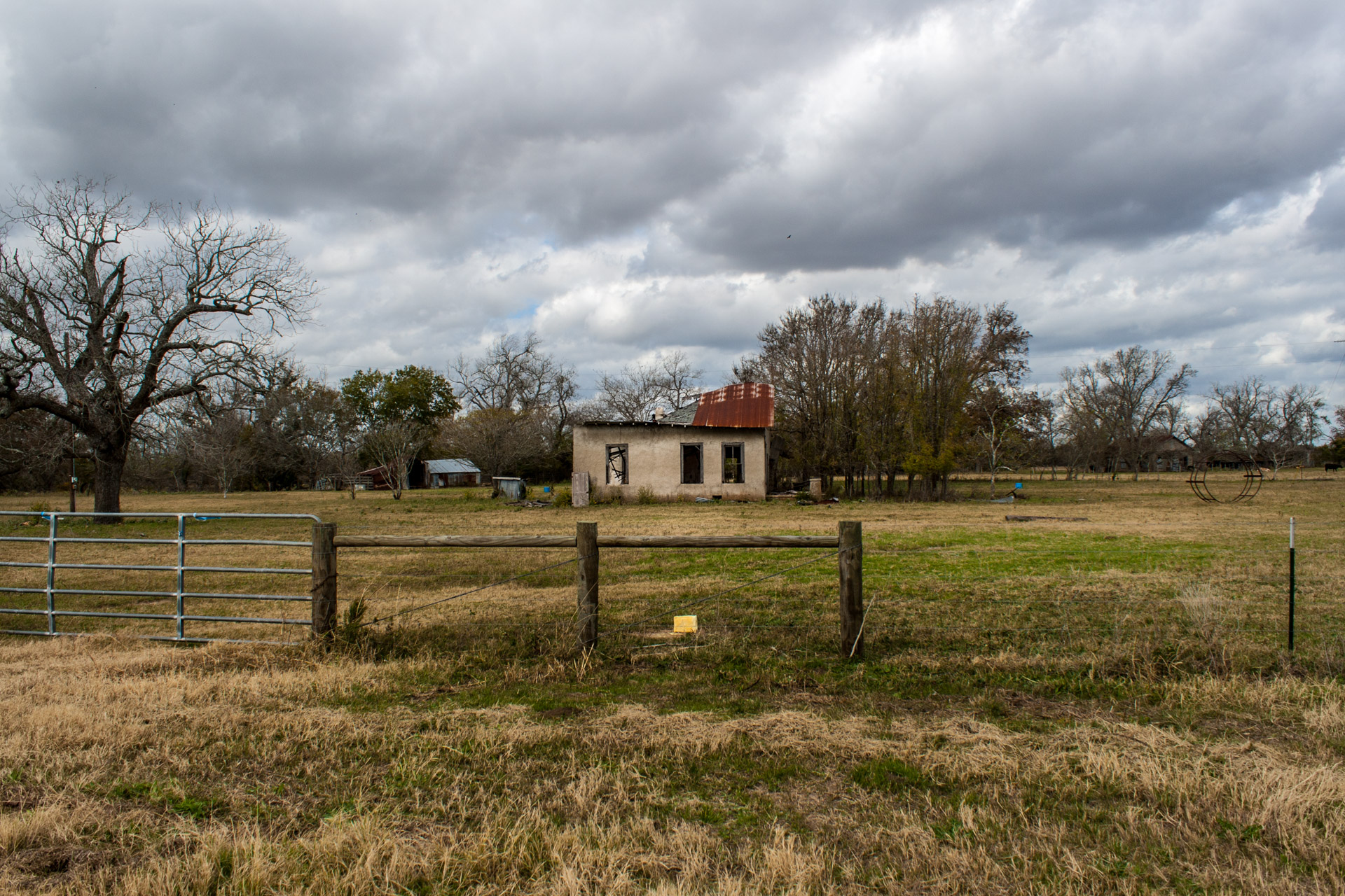 La Grange, Texas - An Impacted Roof Farmhouse (front far)