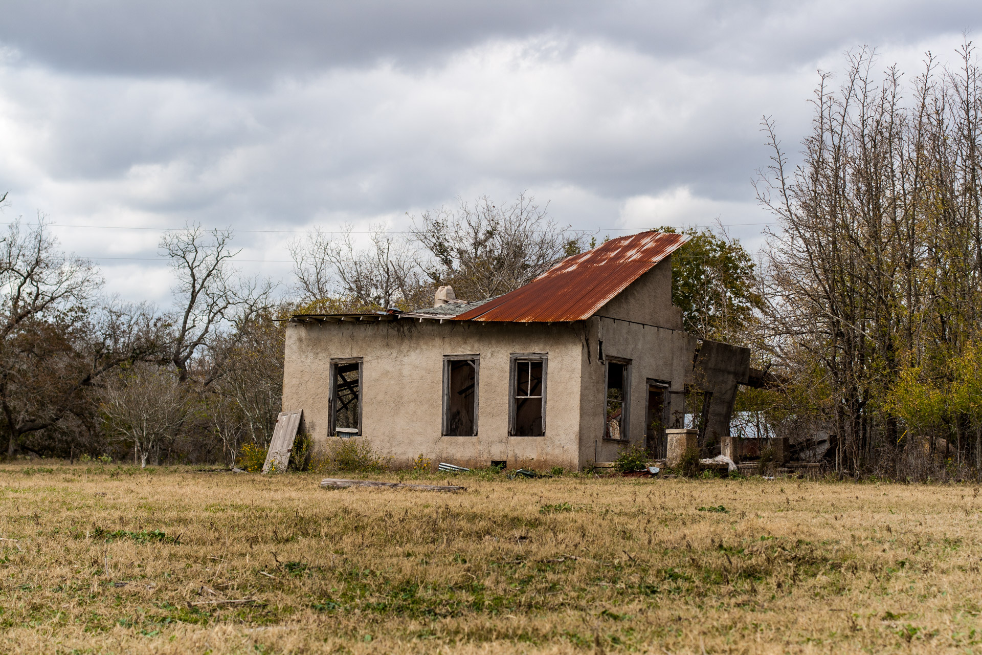La Grange, Texas - An Impacted Roof Farmhouse (front right)