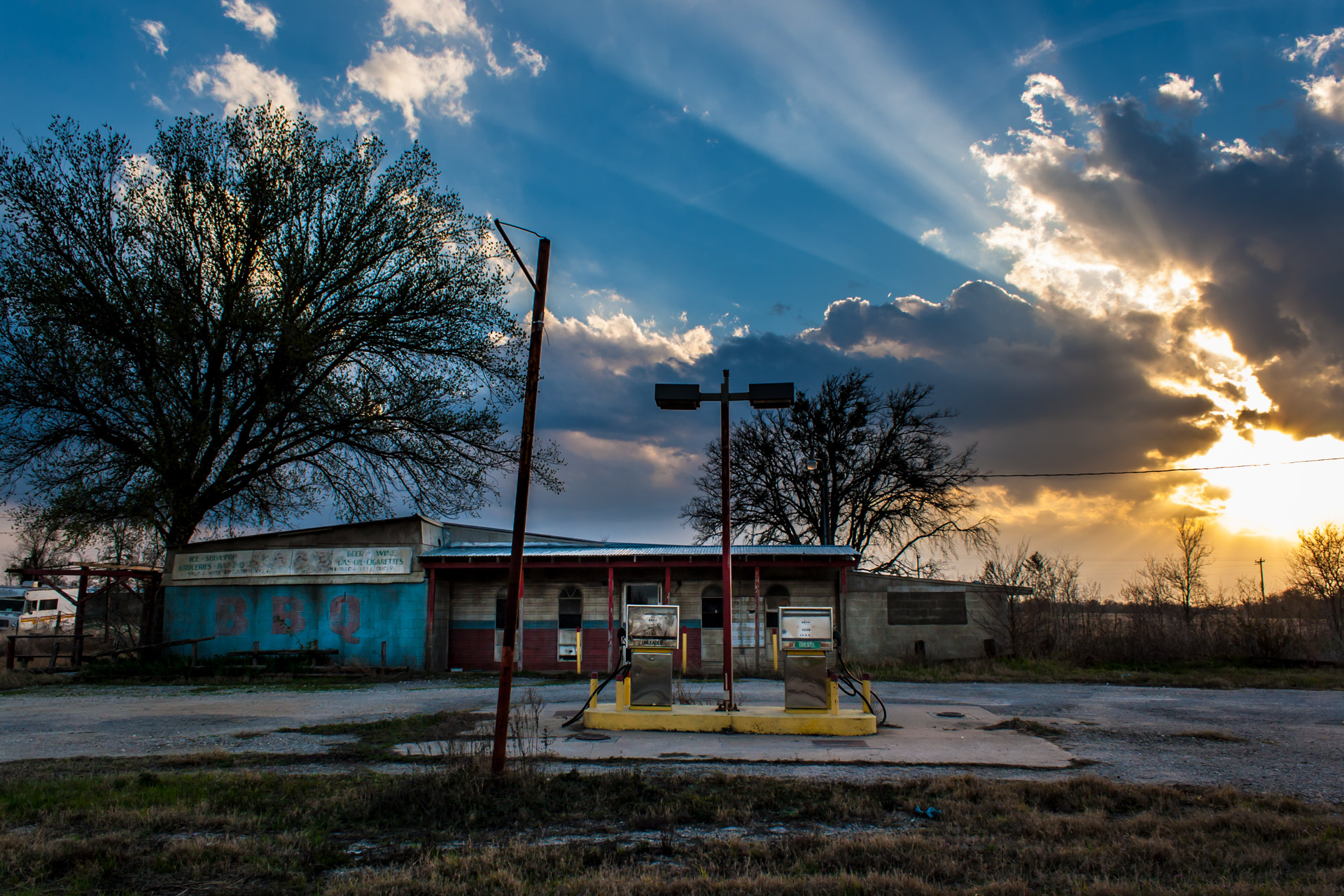 Elgin, Texas - BBQ And Gas Station (front far sunset)