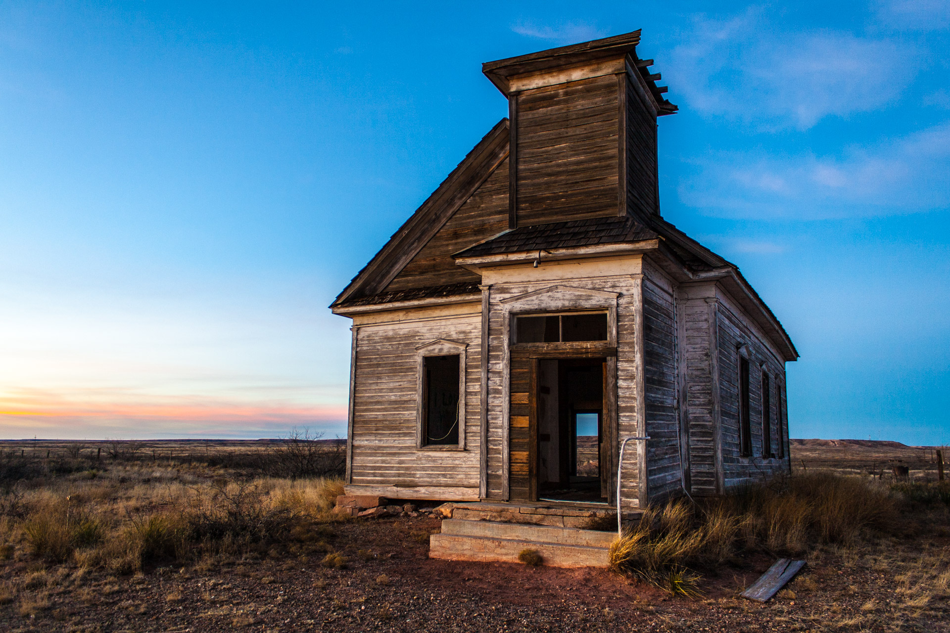 Taiban, New Mexico - Church At Sunset (side close)