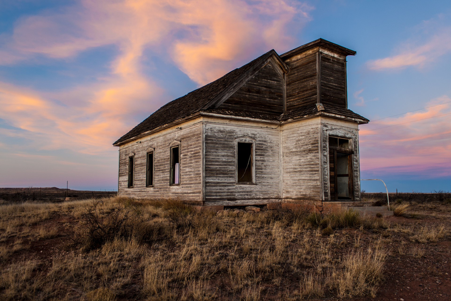 Taiban, New Mexico - Church At Sunset (side left)