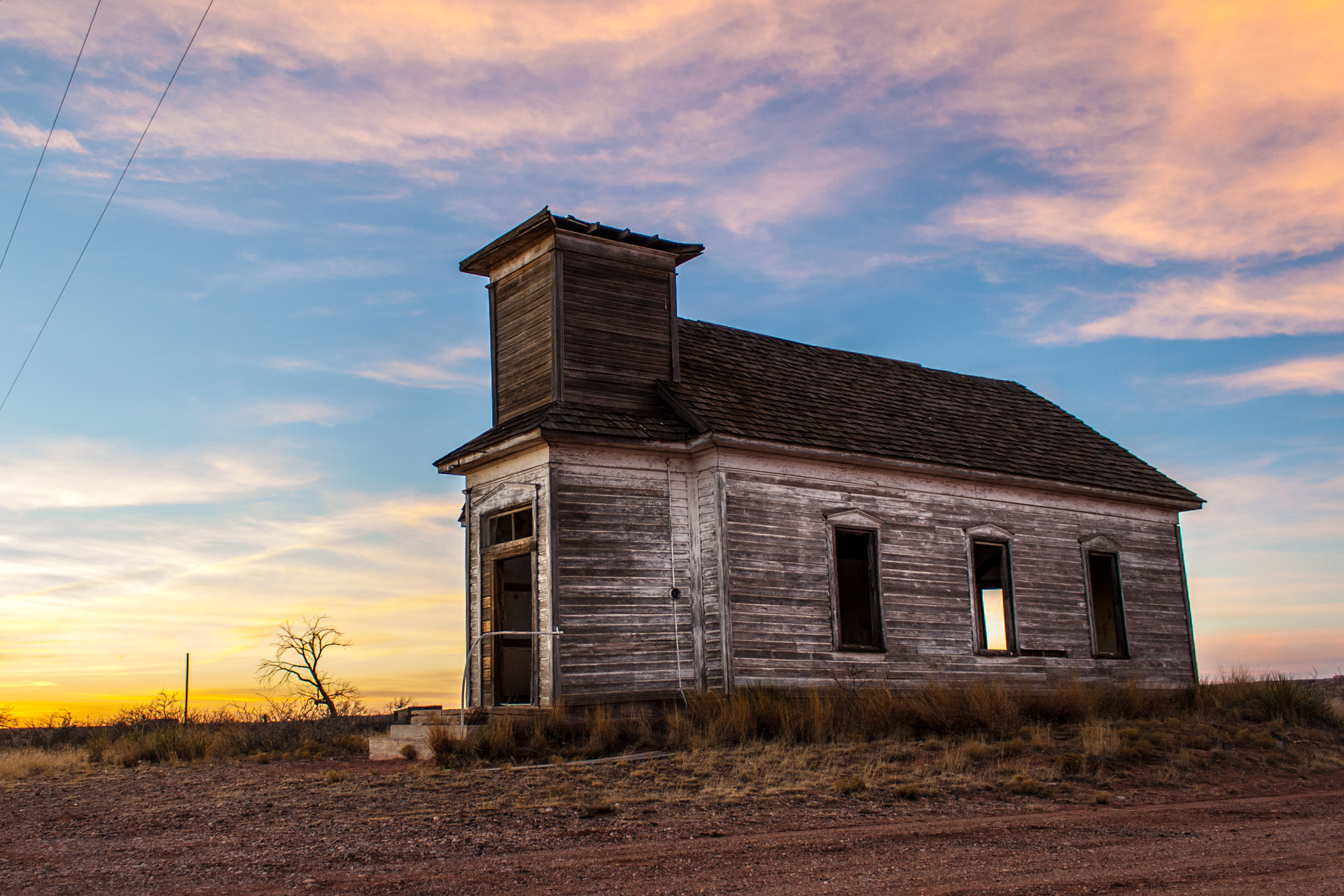 Taiban, New Mexico - Church At Sunset (side right)