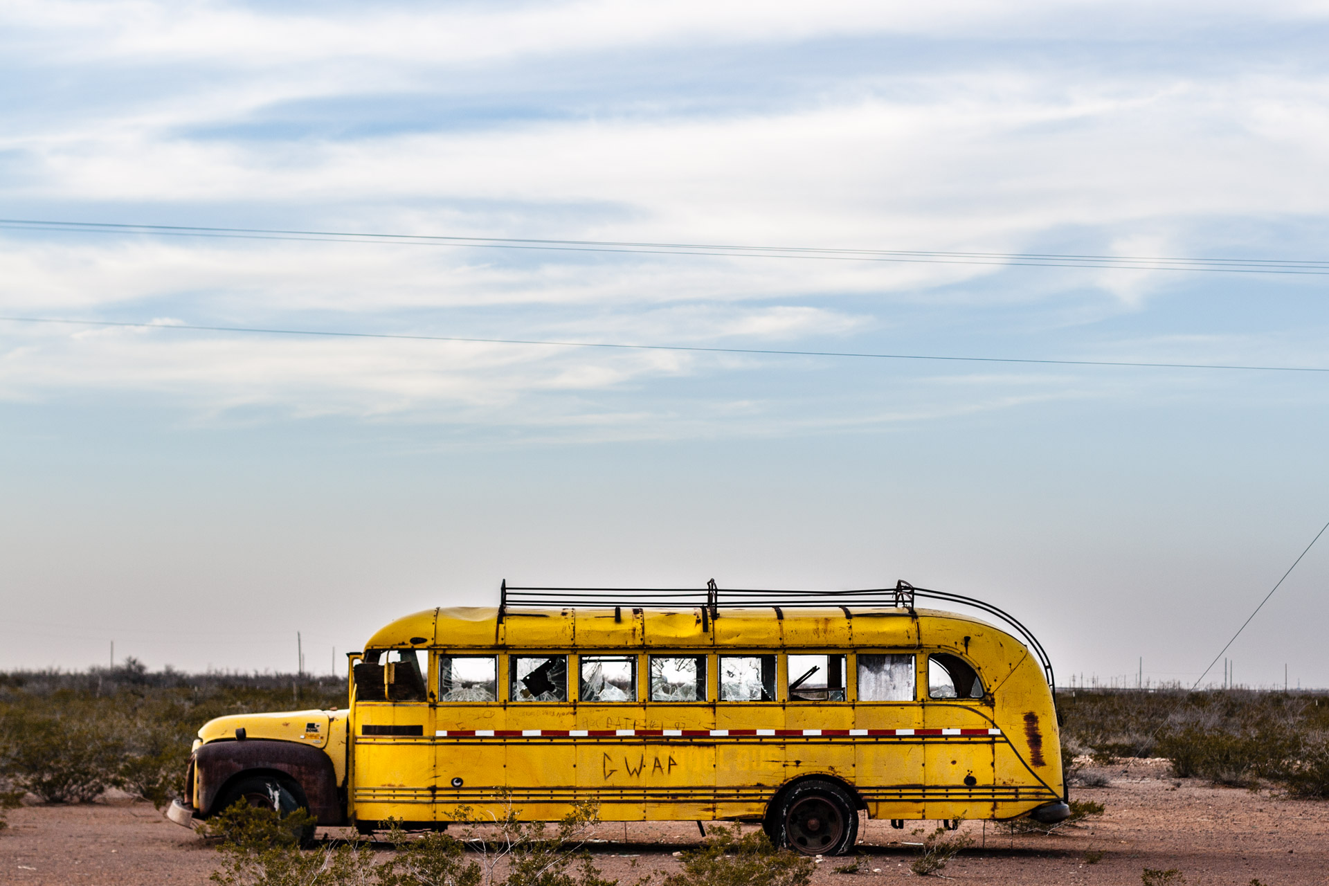 Deserted School Bus-Side Close