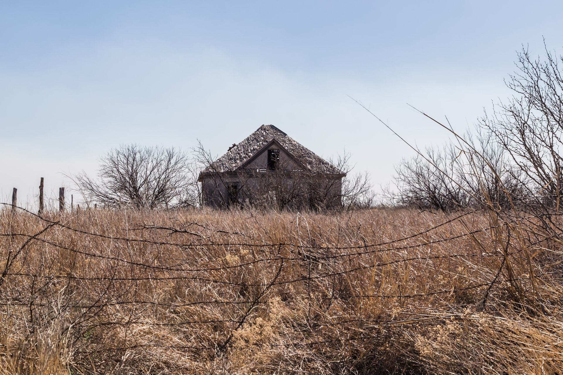 Clarendon, Texas - Hollow House With Barbed Wire