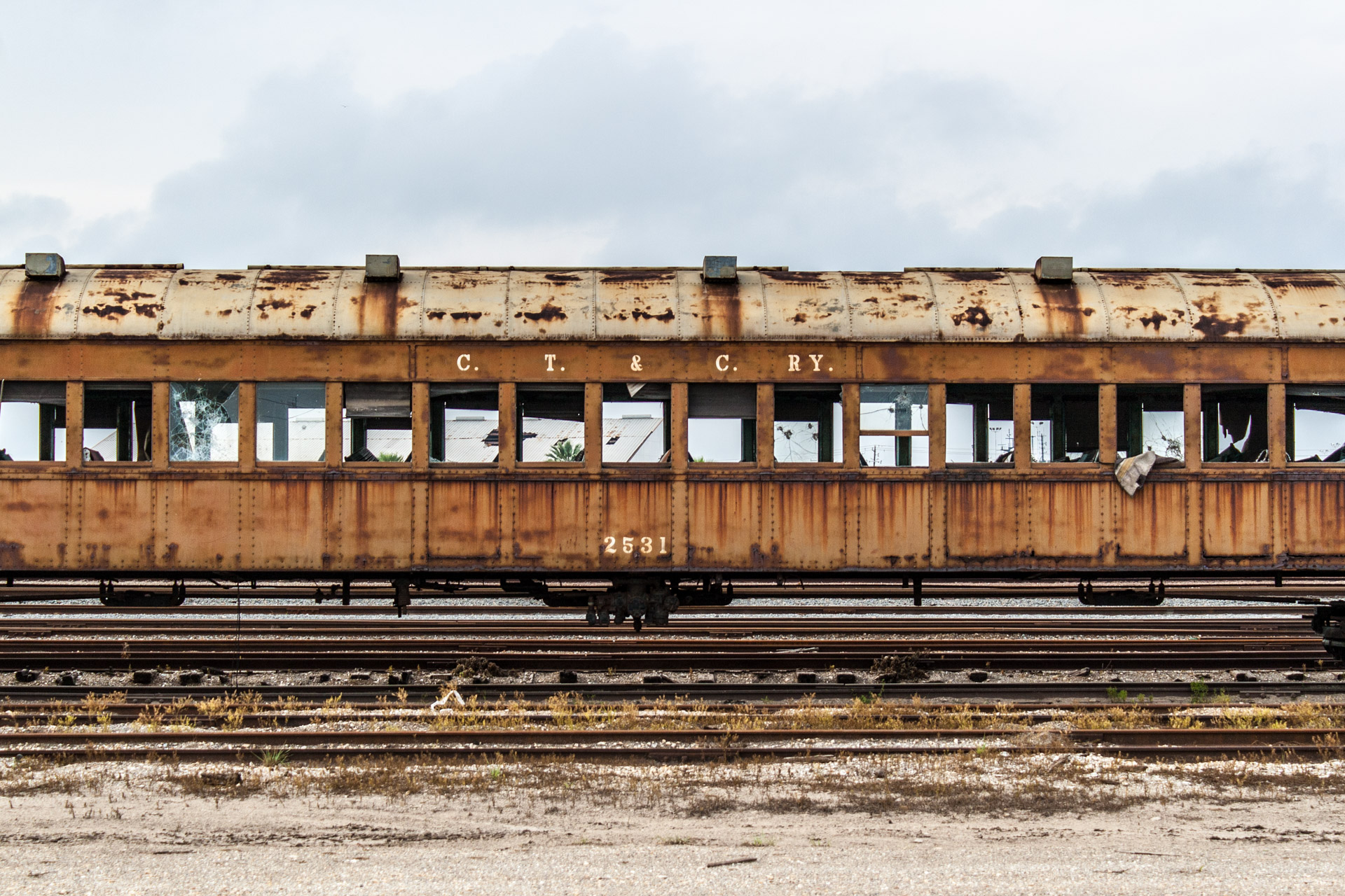 Galveston, Texas - Last Stop Passenger Train Car (front close)