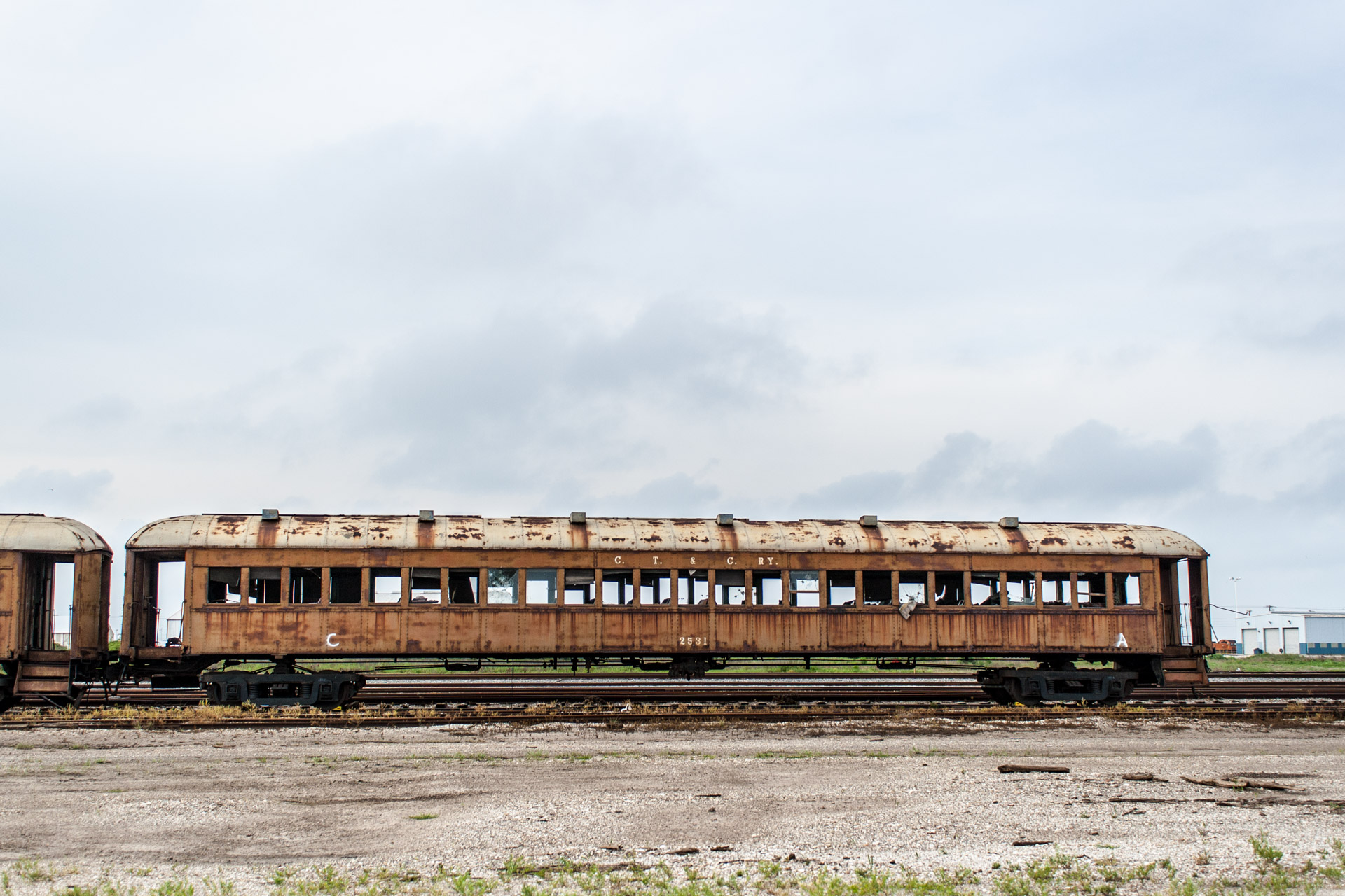 Galveston, Texas - Last Stop Passenger Train Car (front far right)