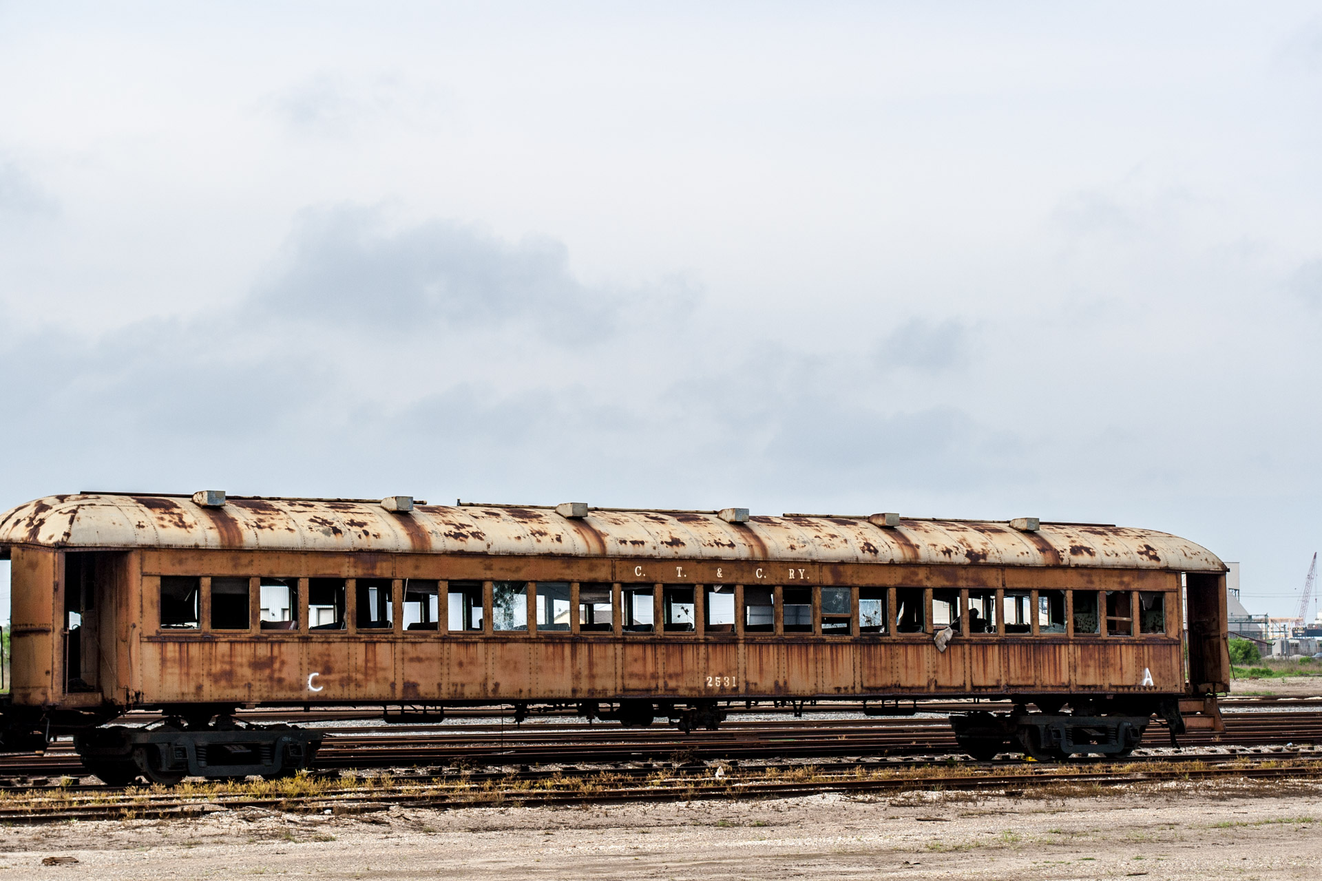 Galveston, Texas - Last Stop Passenger Train Car (side right)