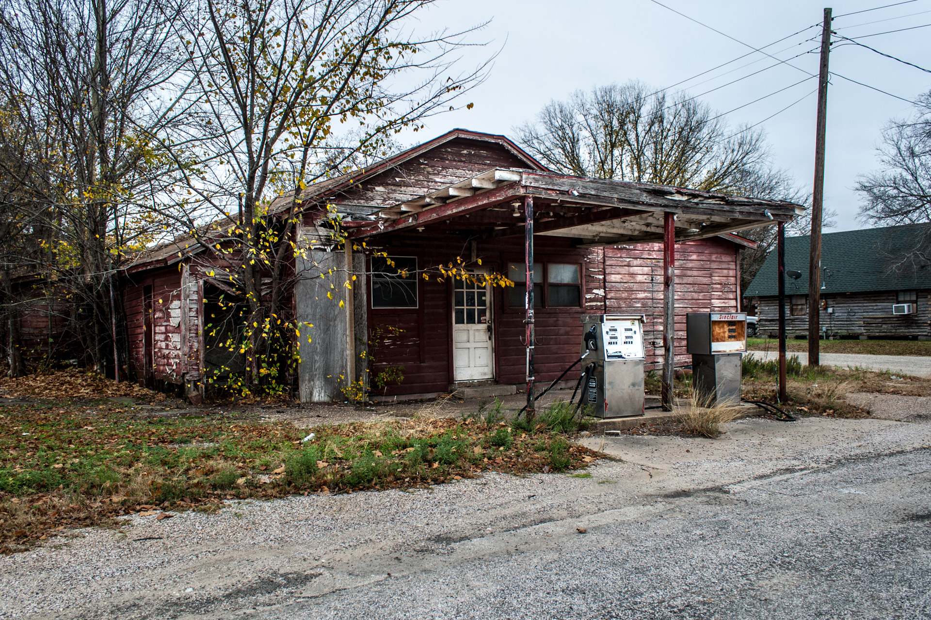 Kosse, Texas - Old Gas Pumps Gas Station (front angle)