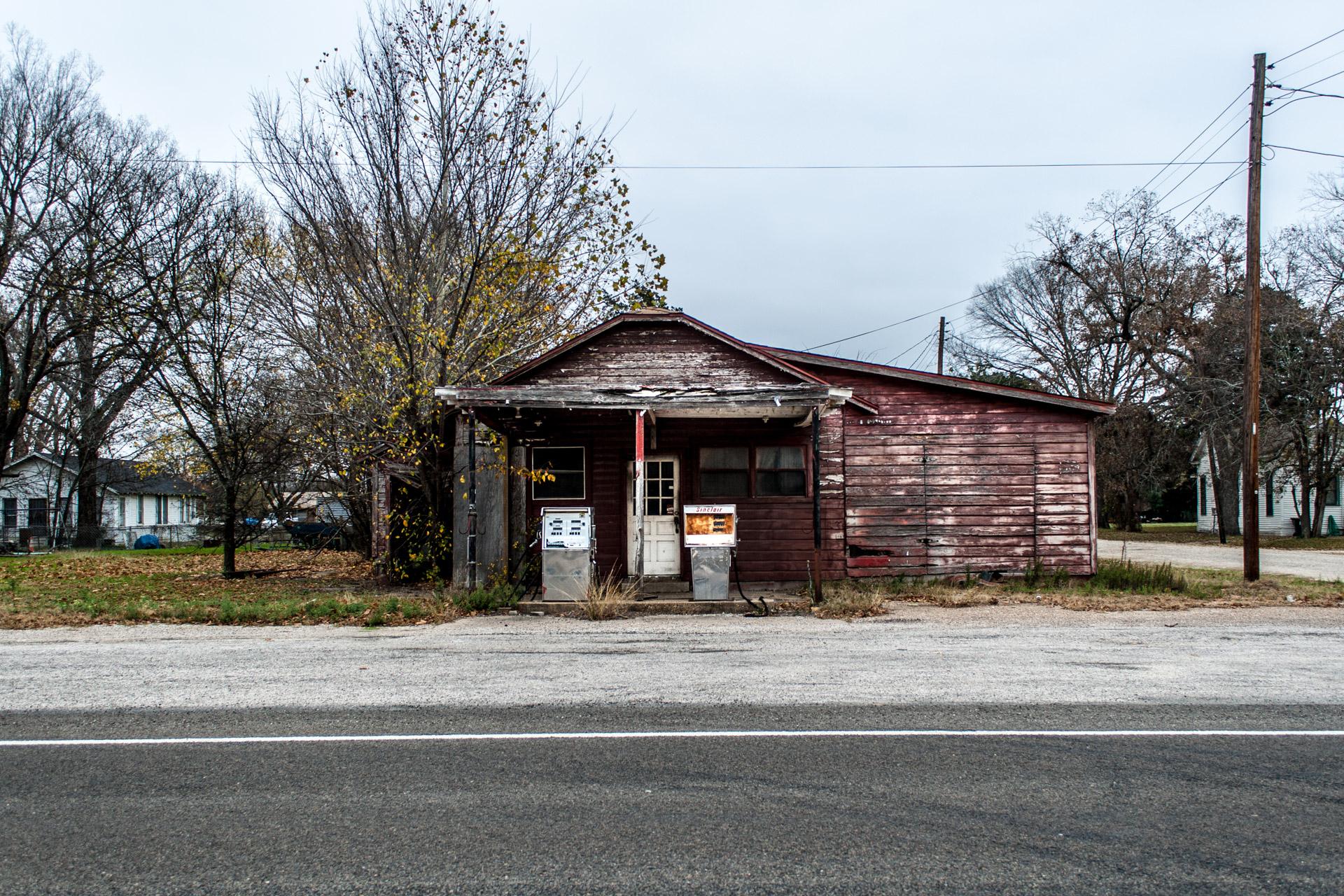 Kosse, Texas - Old Gas Pumps Gas Station (front far)