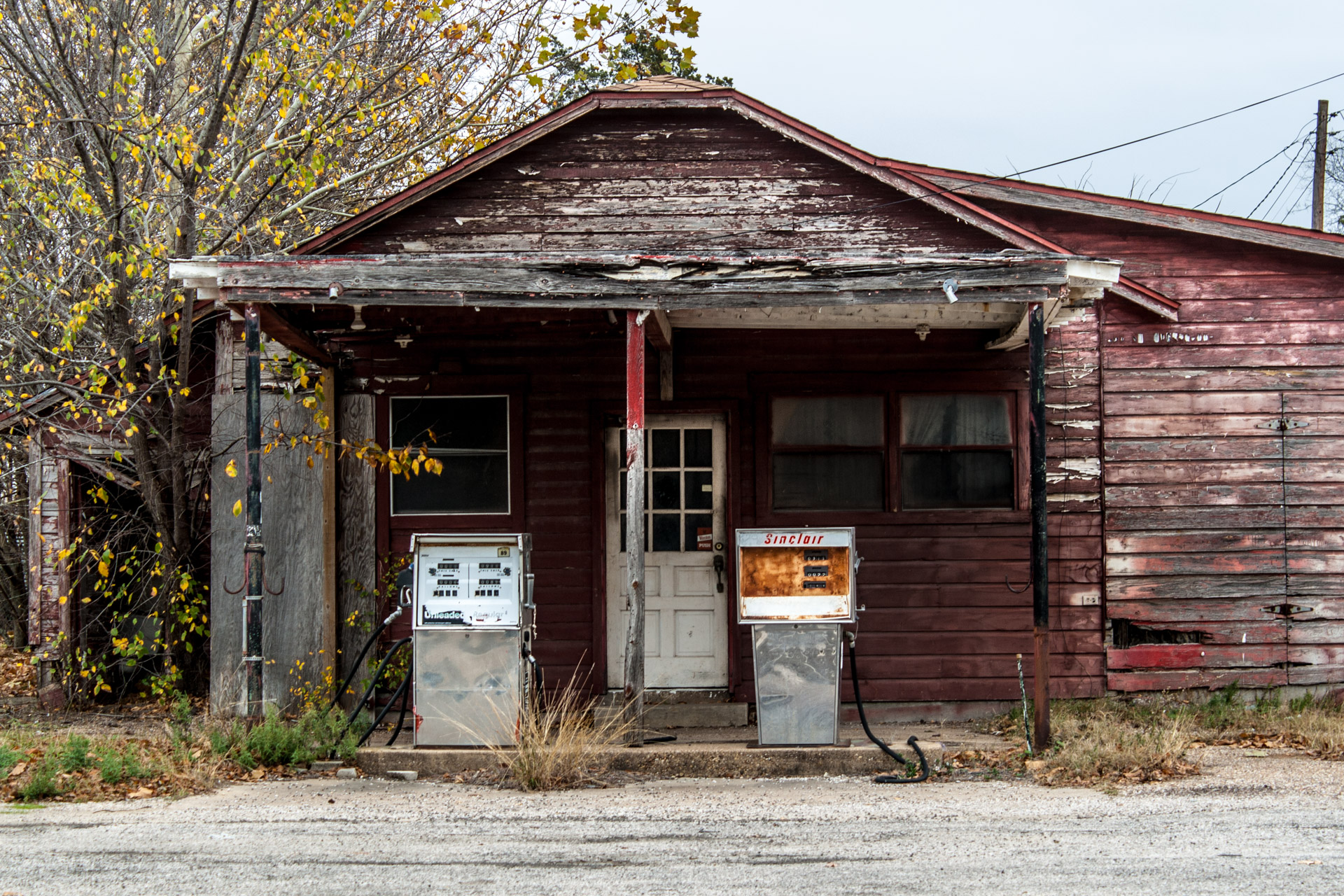 Kosse, Texas - Old Gas Pumps Gas Station (front mid)
