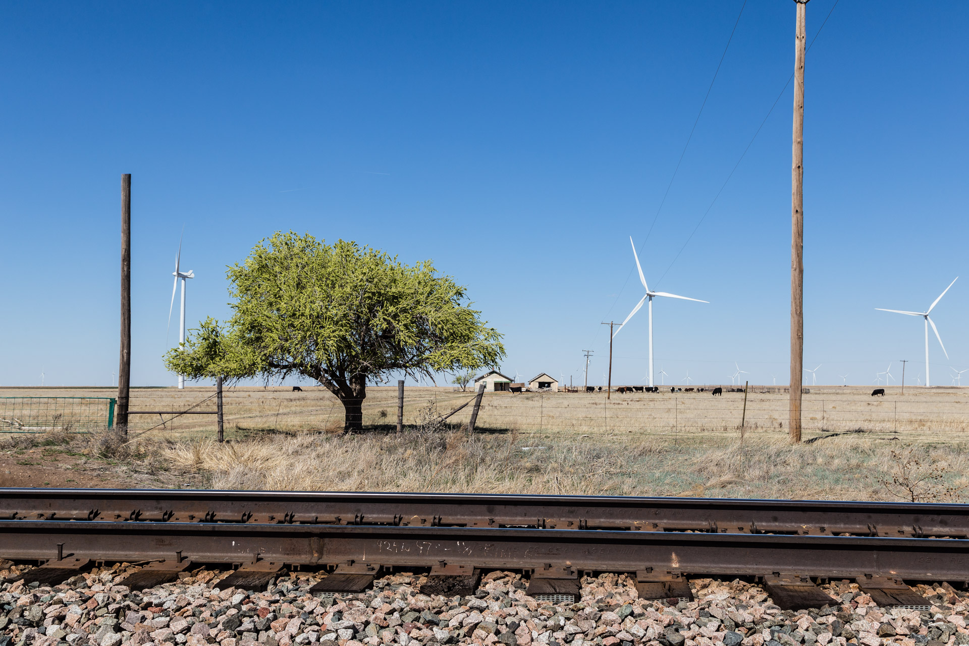 Railroad Tracks and Wind Turbines (mid tracks)