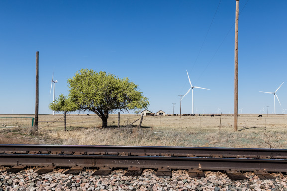 Claude, Texas - Railroad Tracks and Wind Turbines House
