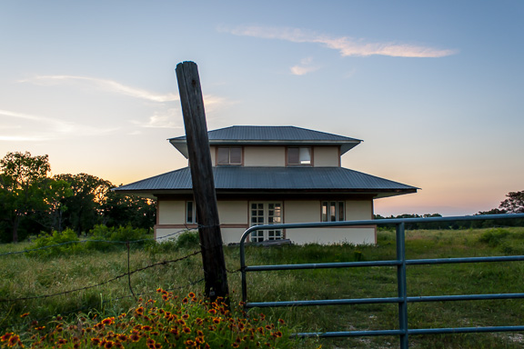 Dale, Texas - Sunset At A Tiered Roof House