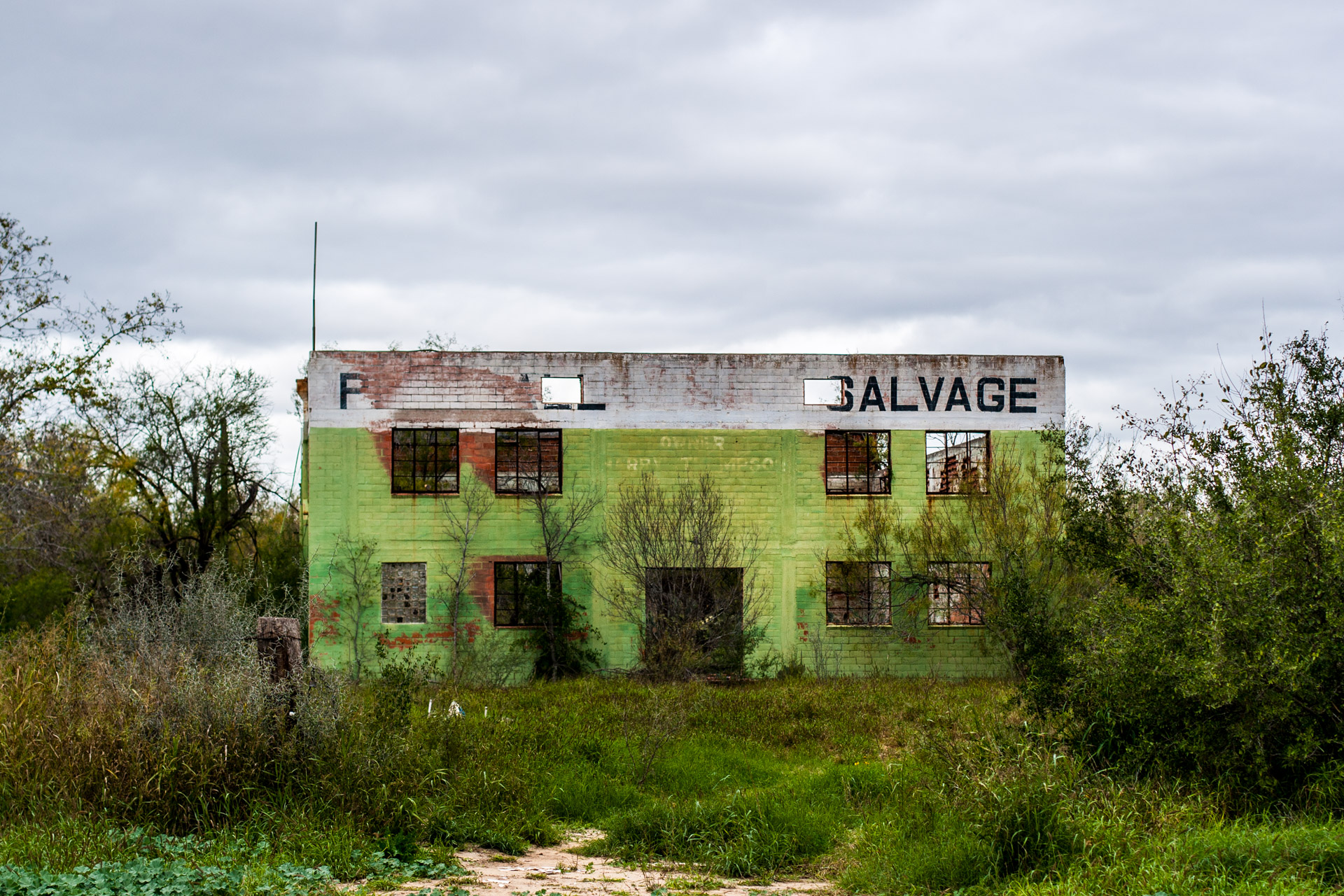 Pearsall, Texas - The Lime Green Salvage Yard (front mid)