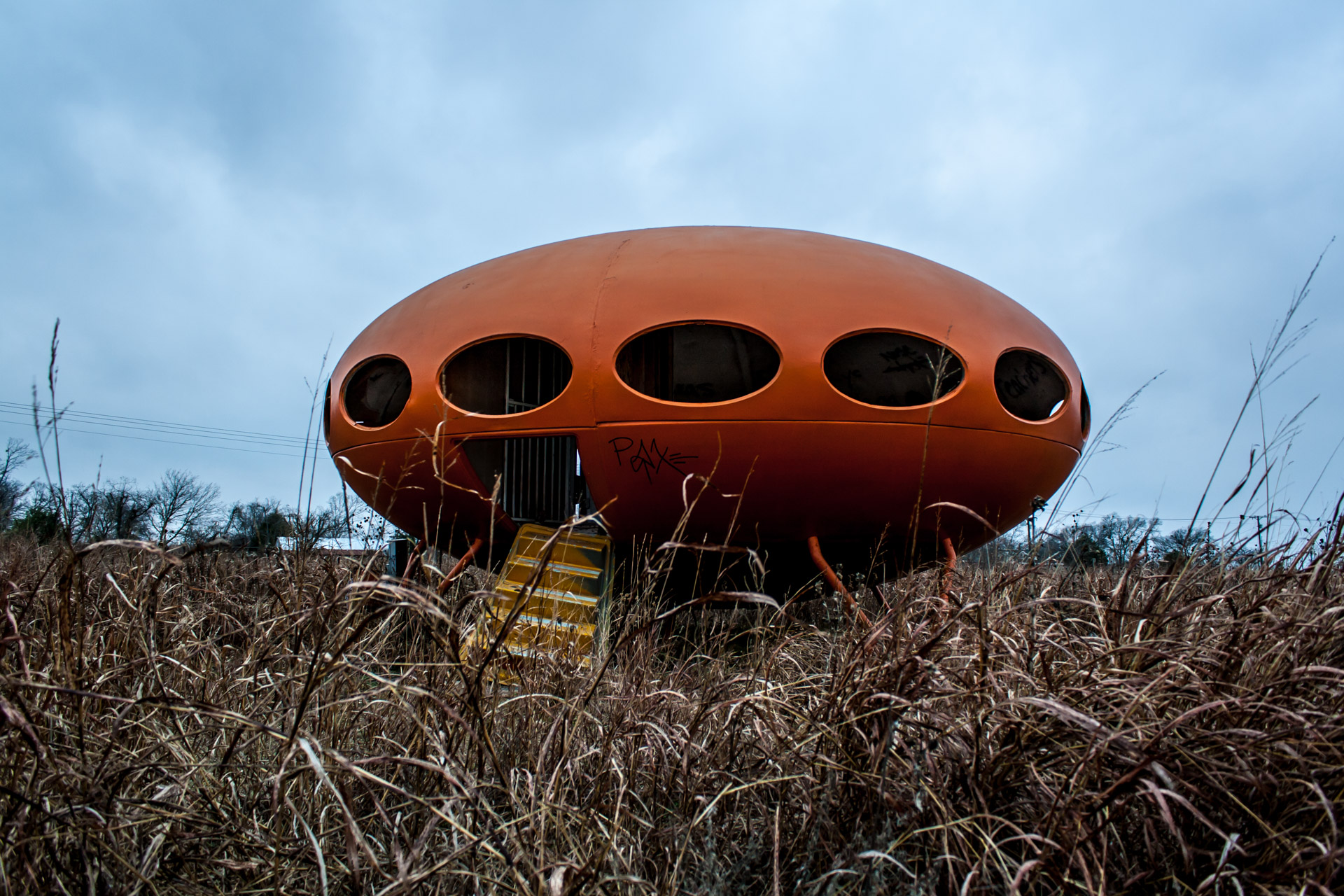 Royse City, Texas - The Orange Futuro House (stair far)