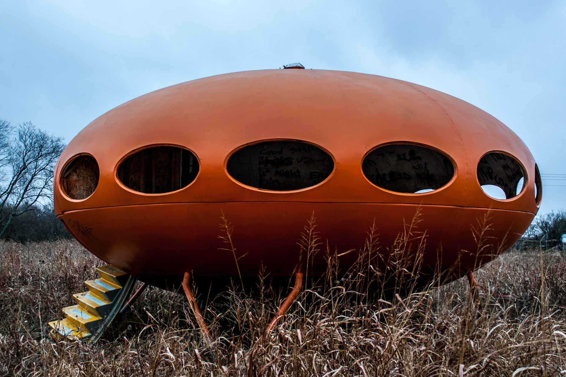Royse City, Texas - The Orange Futuro House (stair side)