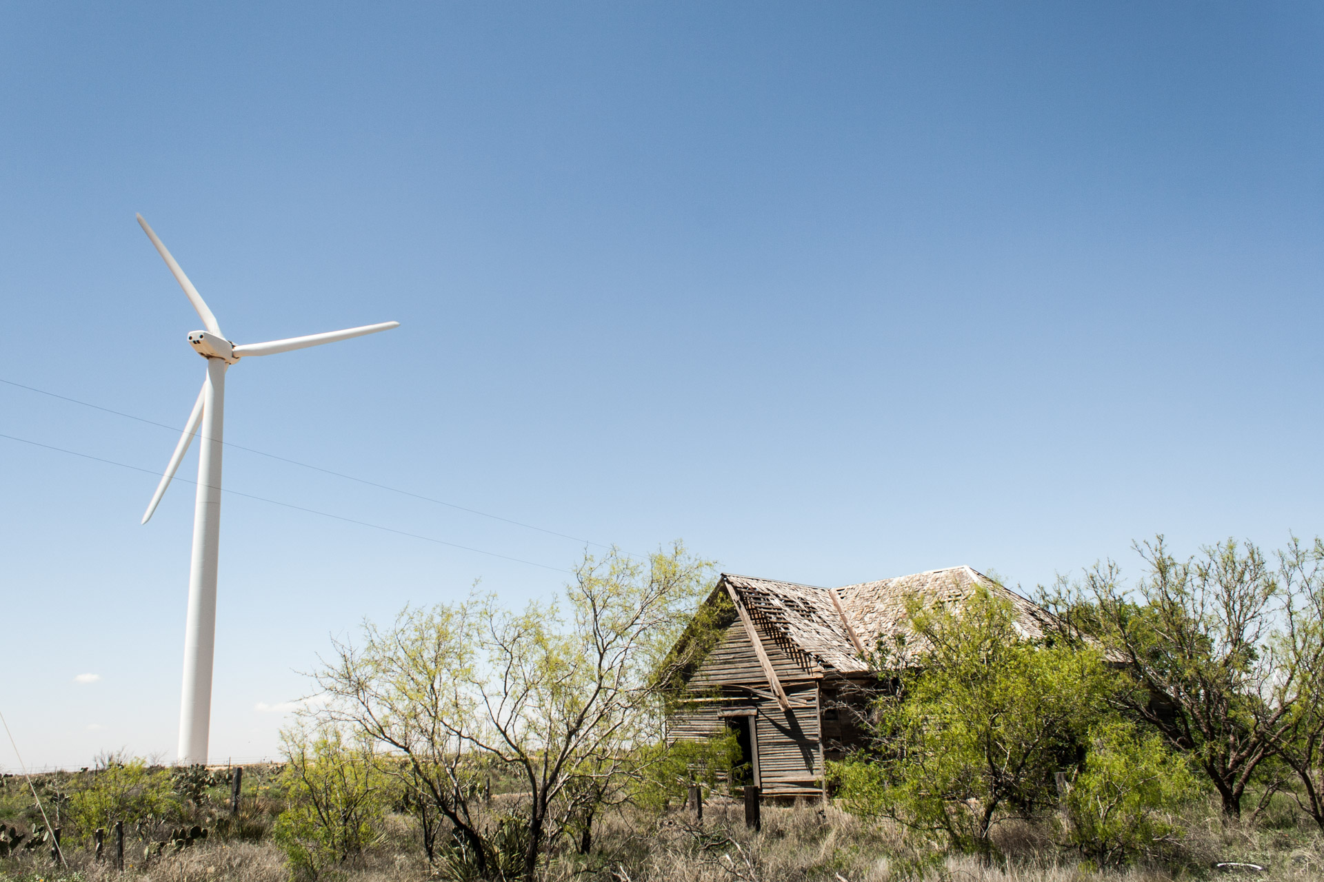Wind Turbine Community Wooden House (right angle far)